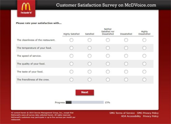 Mcdvoice Survey
